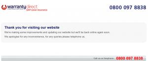 Warranty Direct's GAPcoverinsurance..co.uk website is down.