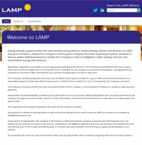 LAMP insurance notice of application for Liquidation